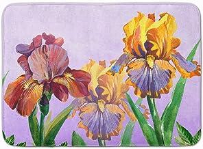 Caroline's Treasures Purple and Yellow Iris Machine Washable Memory Foam Mat doormats