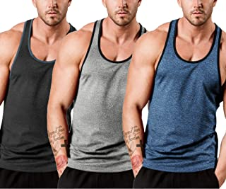 COOFANDY Men's 3 Pack Quick Dry Sports Tank Tops Workout Muscle Tee Training Bodybuilding Fitness T Shirts