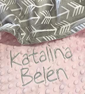 Personalized Baby Blanket, Gray Arrow baby blanket, Archer Minky Baby Blanket,Newborn Girl or Newborn Boy, Baby Shower Gift, Newborn Gift, Baby Pink Baby Blanket Small-Large Double Minky Baby Blanket