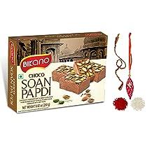 Feastive Celebrations Bikano Chocolate Soan Papdi with Bhai Dooj Thali, Mauli and Tilak (Chocolate Soan Papdi Bhai Dooj Pack)