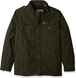 Men's Big and Tall Washed Cotton Two Pocket Sherpa Military Jacket