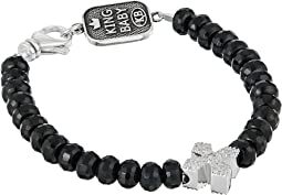 King Baby Studio - Faceted Onyx Bracelet w/ Pave Cross