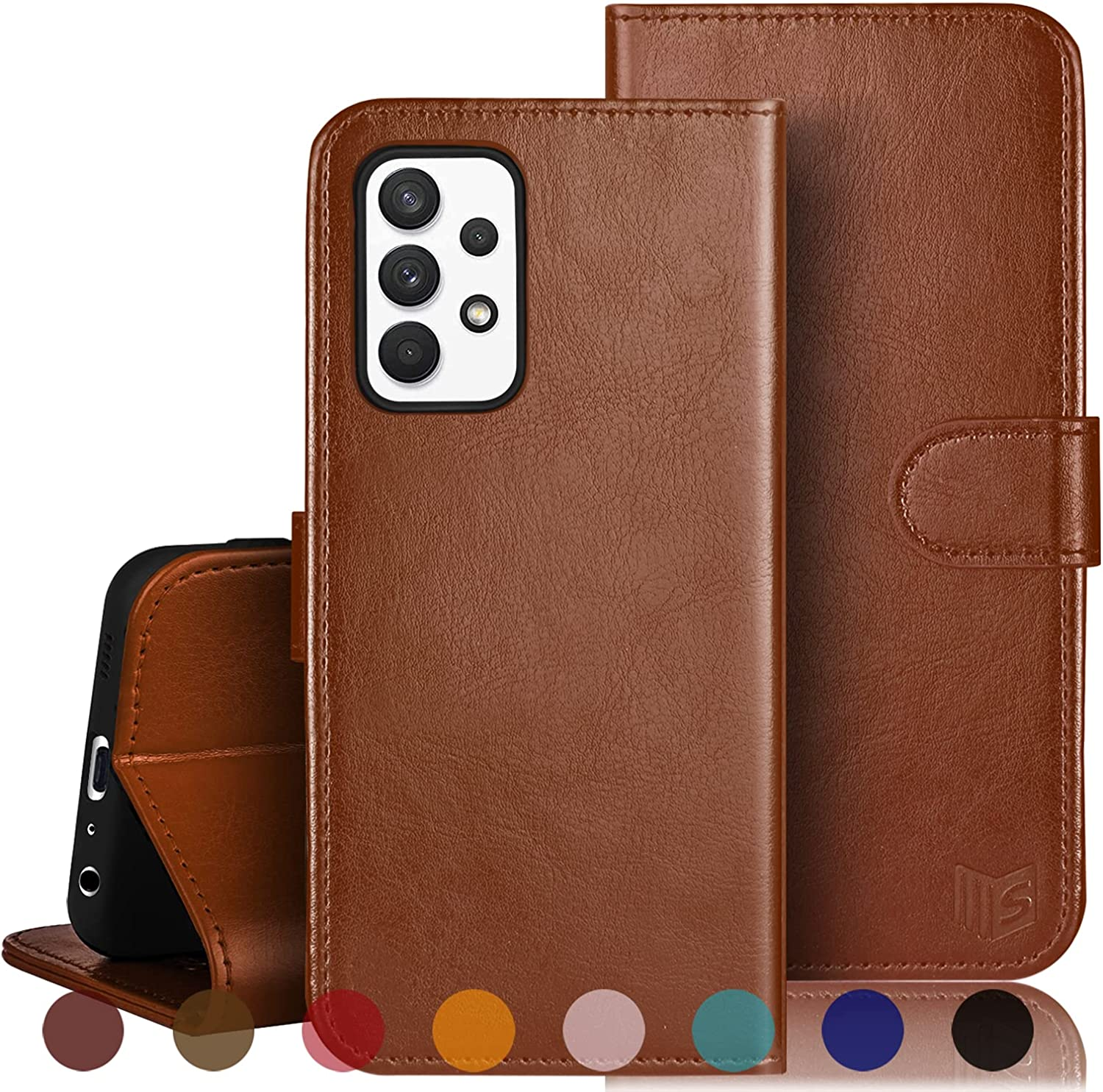SUANPOT for Samsung Galaxy A32 5G Wallet case RFID Blocking Credit Card Holder, Flip Book Phone case Folio Cover for Women Men for Samsung A32 case Wallet Cellphone PU Leather case Light Brown