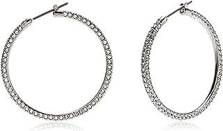 SWAROVSKI Women's Stone Hoop Pierced Earrings, White, Rhodium plated