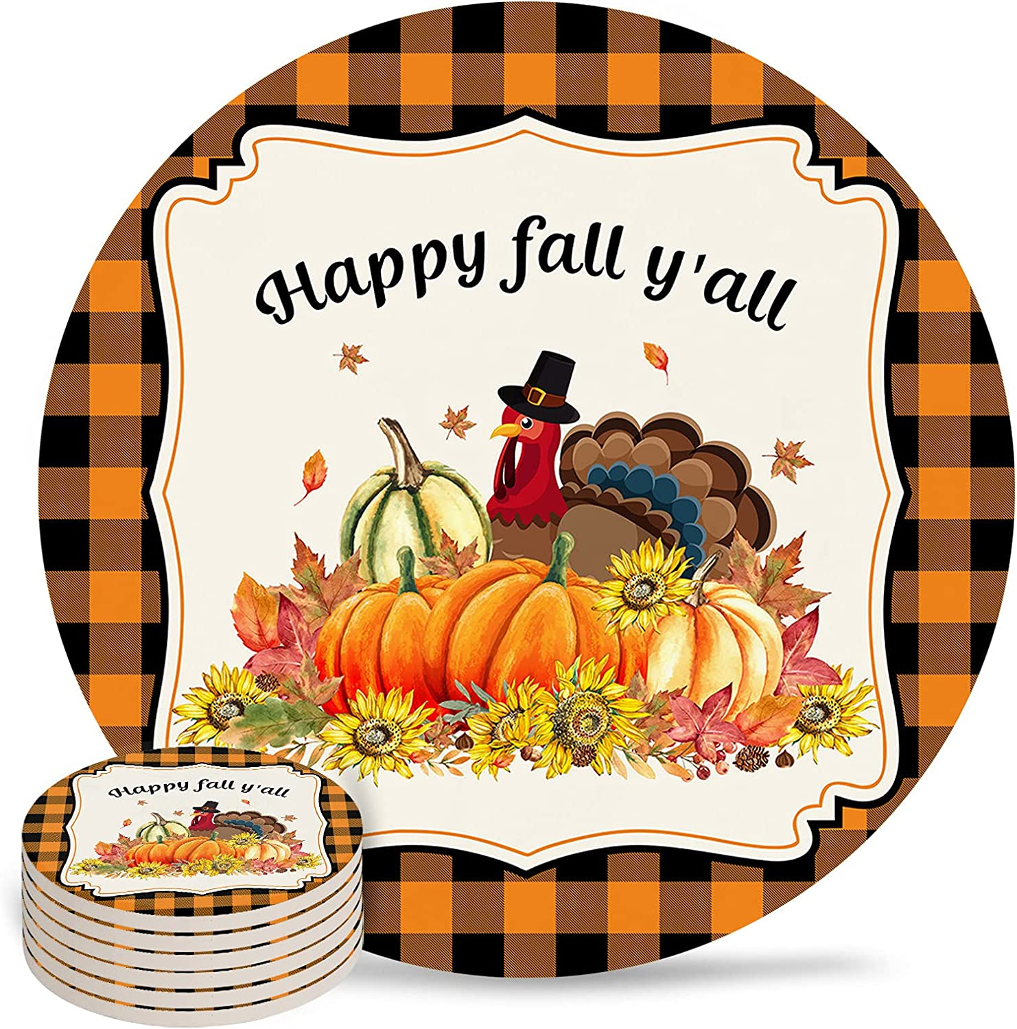 Thanksgiving Coaster for Drinks 4 Absorbent Ceramic Pad D Inch Free shipping 2021 spring and summer new