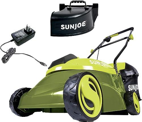 Sun Joe MJ401C-XR 14-Inch 28-Volt 5-Amp Cordless Lawn Mower w/Brushless Motor 10.6-Gallon Detachable Collection Bag Lightweight Green