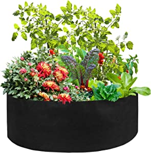 wang JESS 2 Pack 50 Gallon Large Grow Bag,Extra Large Raised Garden Bed Planting Container,Round Breathable Felt Grow Bag for Planting Herb Flower Vegetable Potato Plants,Black