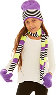S.W.A.K Kids Girls Knit Pompom Beanie Hat Scarf and Gloves Set One Size Fits Most (See More Colors)