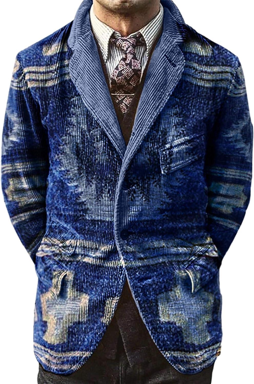 Uaneo Men's Corduroy Printed Casual Notched Lapel Long Sleeve Blazer Suit Jacket(Blue-XS)