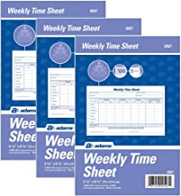 Adams Weekly Time Sheet, 1-Part, 5.5 x 8.5 Inches, Blue/White, 100 Sheets Per Pad, 2 Pads/Pack (9507ABF), 3 Pack