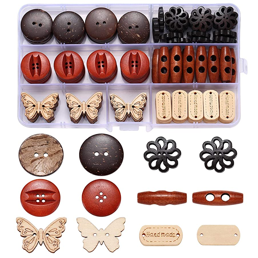 Assorted Round Wood Wooden Buttons Toggle Button Thick Coconut Shell 2 Holes Button Sewing Art DIY Craft Supplies with Box 113pcs