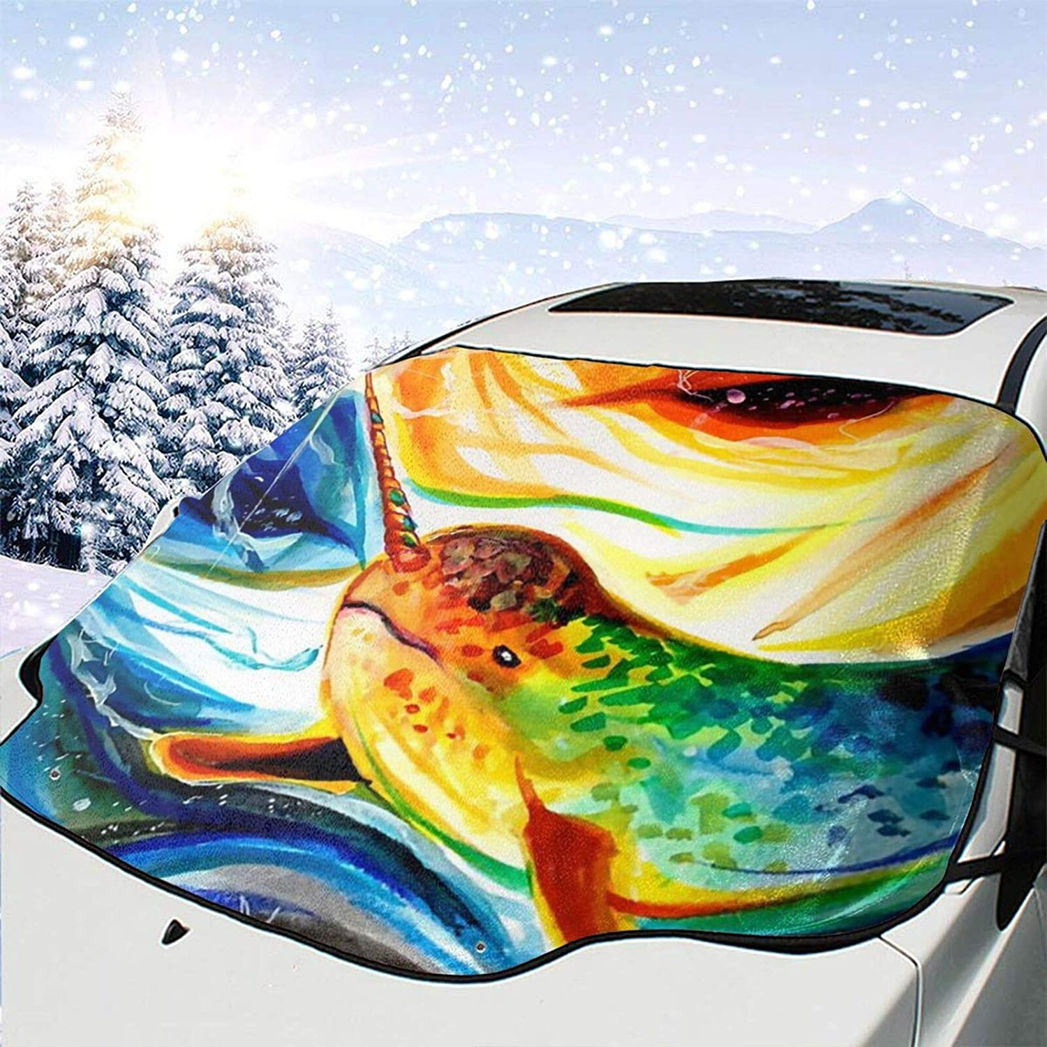 Car Front Window Windshield Snow Rays Cover Sale price Tie-Dyes-Narwhal Uv Outlet sale feature