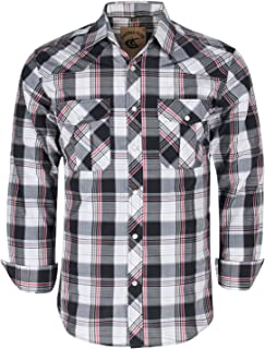 Coevals Club Men's Western Pearl Snap Button Long Sleeve Work Casual Plaid Shirt