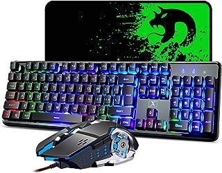 Mechanical Feeling Gaming Keyboard and Mouse Mousepad Combo,104 Keys Rainbow Backlit Gamer Keyboard and Mice Set,10 Color ...