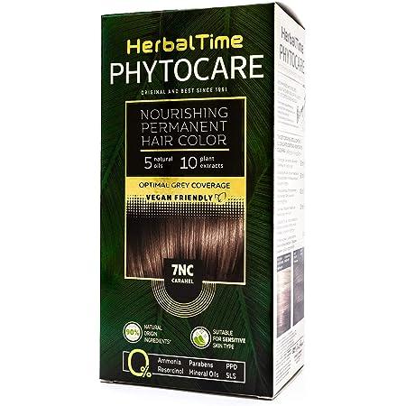 Phytocare Tinte permanente y nutritivo para cabello sin amoniaco, sin PPD, sin SLS, sin parabenos Color Caramelo 7NC