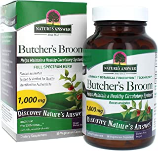 Nature's Answer Butcher's Broom Root Supplement Capsules 90 Count | Promotes Blood Circulation | Supports Inflammation Red...