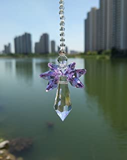 Waner Crystal Guardian Angel Suncatcher Car Charm for Rear View Mirror (Purple)