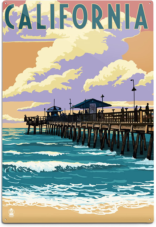 Seattle Mall Lantern Press California sale Pier Scene Aluminum 45799 12x18 Wall
