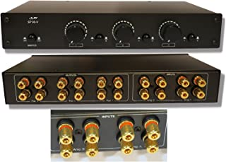 2 Amp x 3 Pair Speaker Selector Switch Switcher Volume Control, Commercial Grade Brass Jacks