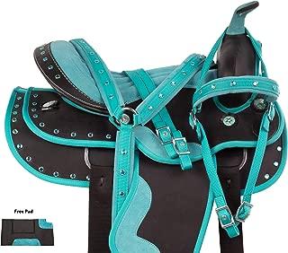 AceRugs Beautiful Western Pleasure Trail Barrel Racing Show Horse Saddle Free TACK Set PAD Silver Crystals
