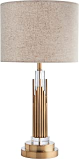 Stone & Beam Modern Art Deco Living Room Table Desk Lamp With Light Bulb - 6 x 6 x 24 Inches, Brass with Linen Shade