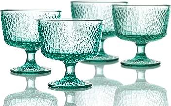Elle Decor 229805-4PBGR Bistro Croc Pedestal Bowls, 4.3 x 4.3, Green