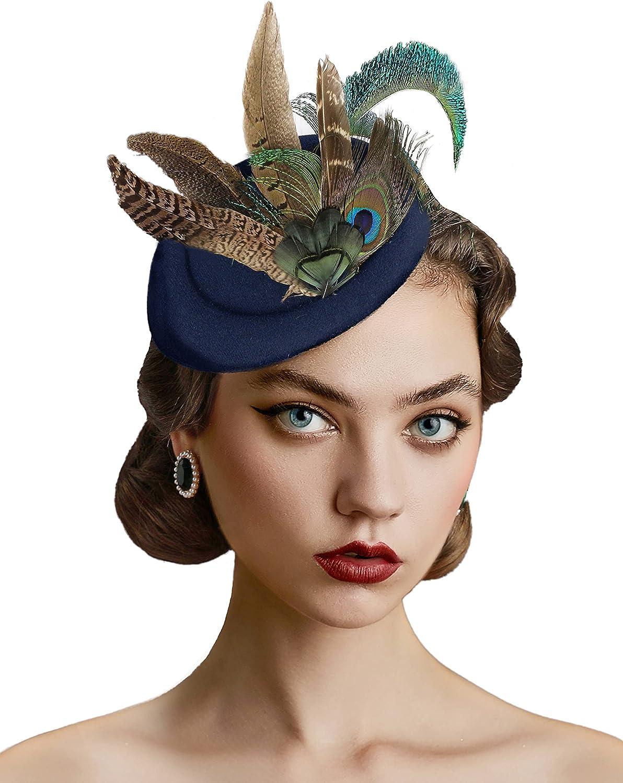BABEYOND Fascinator Hat Tea Party Kentucky Derby Fascinator Hat Pillbox Hat
