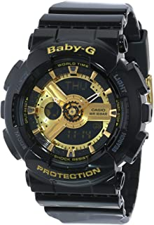 Women's BA-110-1ACR Baby-G Goldtone Analog-Digital Display and Black Resin Strap Watch