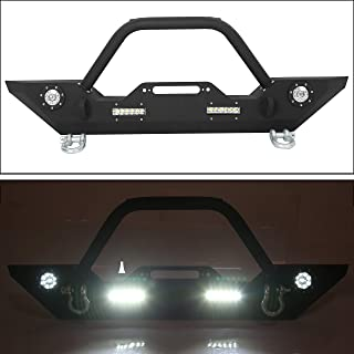 Front Bumper W/Winch Plate & LED Lights D-rings for 2007-2018 Jeep Wrangler JK, Rock Crawler Front Bumper