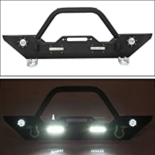 Front Bumper W/Winch Plate & LED Lights D-rings for 2007-2018 Jeep Wrangler JK, Rock Crawler Front Bumper
