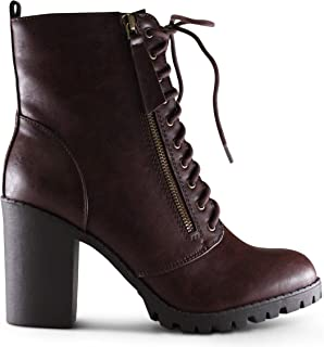 AFFORDABLE FOOTWEAR Womens Round Toe Chunky Block Stacked Heels Lace Up Military Combat Boots