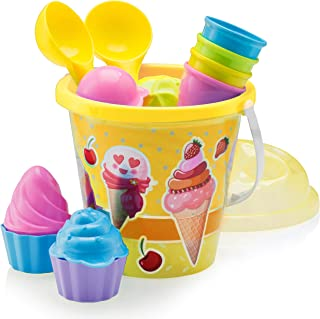 Top Race Beach Toys, Sand Toys, 16 Piece Ice Cream Mold Set for Kids 3-10 with Large 9