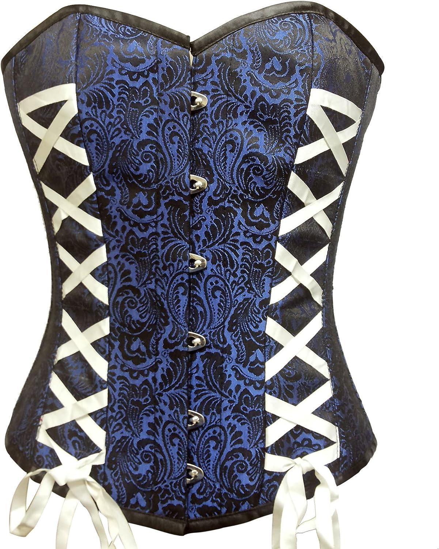 bluee Black Brocade White Ribbon Burlesque Waist Cincher Bustier Overbust Corset