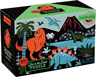 """Mudpuppy Dinosaur Glow-in-the-Dark Puzzle, 100 Pieces, 18""""x12"""" –Perfect for Kids Age 5+ - Colorful and Glowing Illustratio..."""