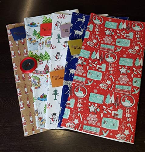 Satyam kraft (Pack of 10) Christmas Theme Gift Wrapping Paper with Free 10 Best Wishes Tags and 1 Satin Ribbon, Envel...