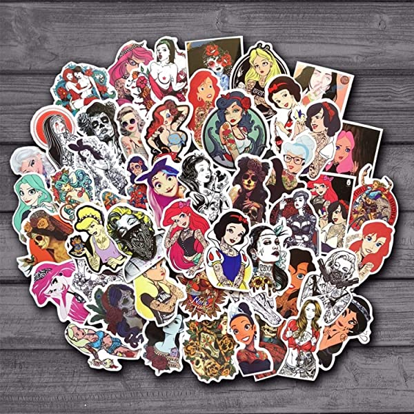 50Pcs Lot Spoof Punk Tattoo Princess Sticker For Kids Toy Luggage Skateboard Phone On Laptop Moto Bicycle Wall Guitar Stickers