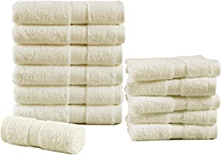 12 Pack Ivory 600 GSM Towels Set - 6 Hand Towels, 6 Washcloths,100% Combed Cotton Bathroom Hand Towels, Highly Absorbent w...