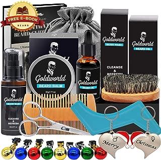 GoldWorld Beard Grooming Kit w/Beard Oil,Beard Balm,Beard Brush,Beard Comb,Beard Ornaments,Beard Wash/Shampoo,Scissor,Shaping tool,Storage Bag,E-Book,Christmas Keychain,Beard Growth Care Gifts for Men