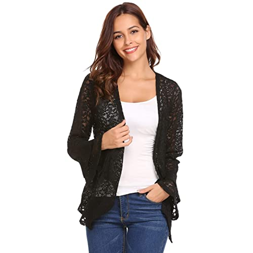 27c6a0f6620 Concep Women s Bell Sleeve Cardigan Lace Crochet Casual Tops Sheer Cover Up  Plus Size