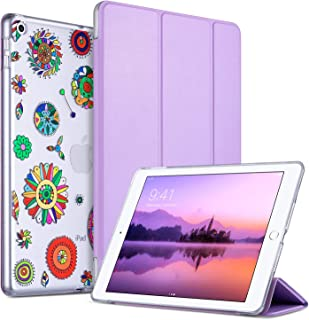 ULAK iPad 9.7 Case 2018/2017, iPad 6th Generation Cases, Slim Lightweight Smart Case Trifold Stand Auto Sleep/Wake Function, Hard Back Clear Cover for iPad 9.7 iPad 5th 6th Generation, Pinwheels