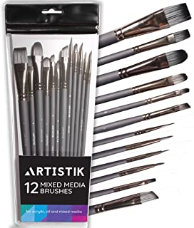 Fine Detail Paint Brush Set - (12 Piece Set) Miniature Brushes for Acrylic, Oil Watercolor, Model Craft Miniatures Painting, Paintbrushes, Professional Detailing Paint Kit