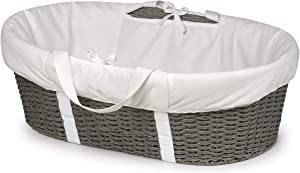 Wicker-Look Woven Baby Moses Basket with Bedding, Sheet, and Pad