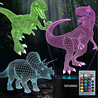GITURKD Dinosaur Night Light - 3D Led Illusion Lamp Three Pattern and 7 Color Change Decor Lamp with Remote Control for Kids, Dinosaur Gifts for Children