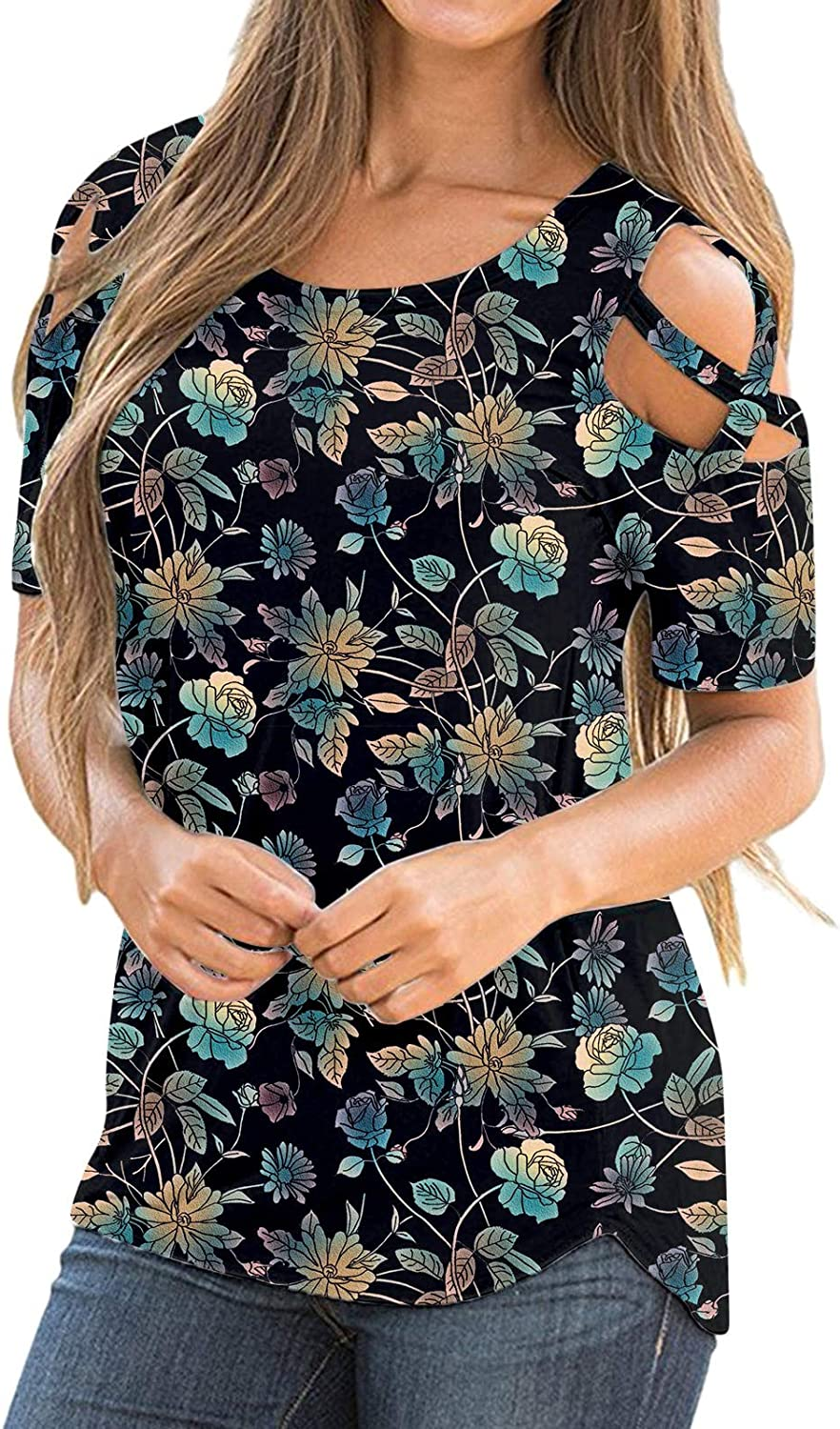 Aukbays Womens T-Shirts Women Short Sleeve Strappy Cold Shoulder Round Neck Floral Tops for Women Shirt Blouses Tunic