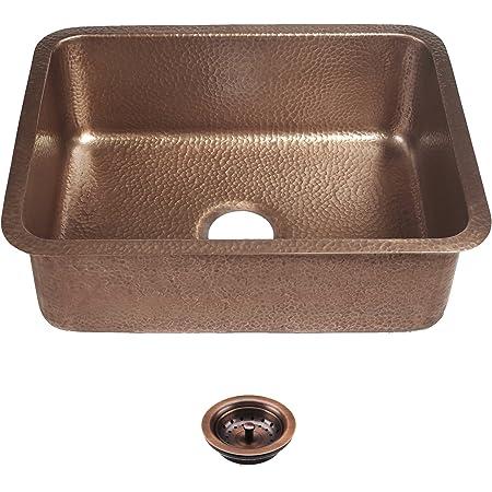 """Sinkology SK201-23AC-AMZ-B Renoir Kit with Basket Strainer Drain Undermount Kitchen Sink, 23"""" x 17.25"""" x 8"""", Antique Copper"""