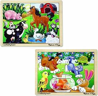 Melissa & Doug Animals Wooden Jigsaw Puzzles Set - Pets and Farm Life (12 pcs each)