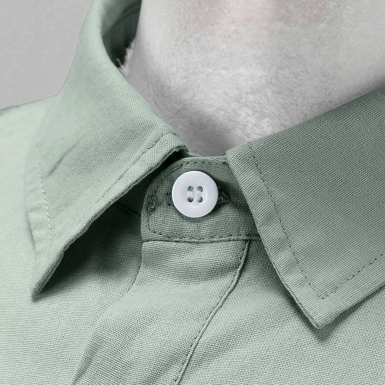 Mens Short/Long Sleeve Linen Shirt Summer Loose Fit Lightweight Casual Button Down Beach Shirt