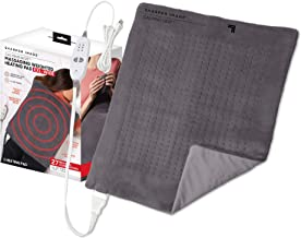 Calming Heat XXL-Wide Massaging Weighted Heating Pad by Sharper Image- Electric Heating Pad with Massaging Vibrations, Aut...