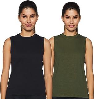 Amazon Brand - Symbol Women's Solid Regular Fit Sleeveless Cotton T-Shirt (Combo Pack of 2)