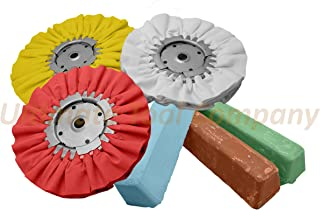 Complete 6pc Kit Buffing Wheel & Polishing Aluminum Brown Blue Red Compound Set